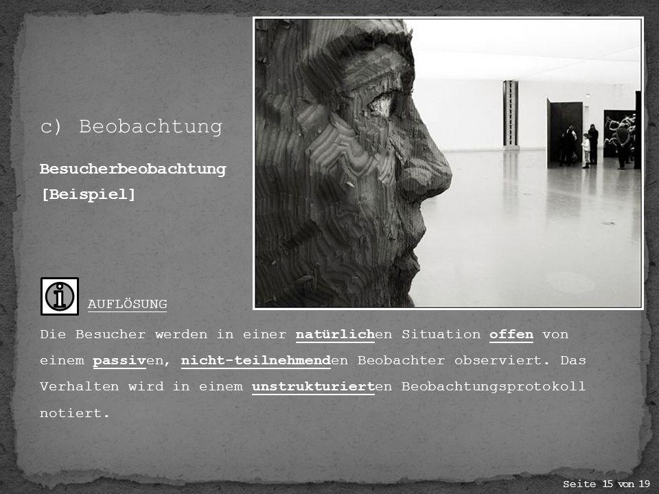 c) Beobachtung Besucherbeobachtung [Beispiel]